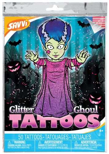 Glitter Ghoul Halloween Temporary Tattoos